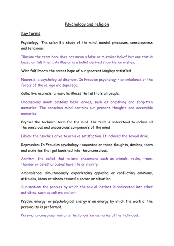 Psychology and religion key terms