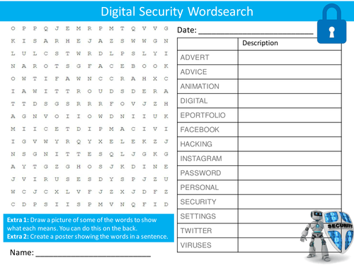 Digital Security Wordsearch Starter Activity ICT Computing Safety Homework Cover Lesson Plenary
