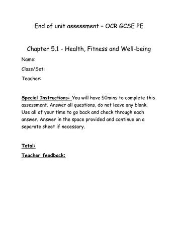 Health, fitness and well-being end (5.1) of chapter assessment (and mark scheme) OCR GCSE PE (2016)