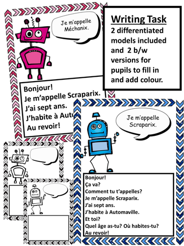 High school french resources greetings french greetings robots video and writing task m4hsunfo