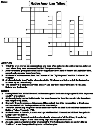 Native American Tribes Crossword Puzzle by ScienceSpot