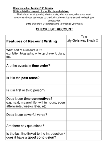 Christmas Recount Homework with Steps to Success checklist.