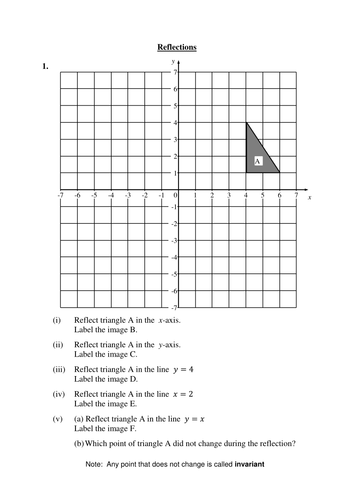 2 worksheets on reflections (transformations of shapes)