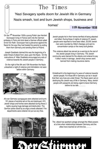 Newspaper report analysis of Kristallnacht