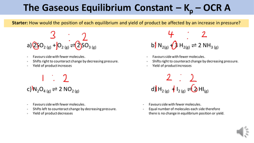 Equilibrium Constant Kp - OCR A Chemistry