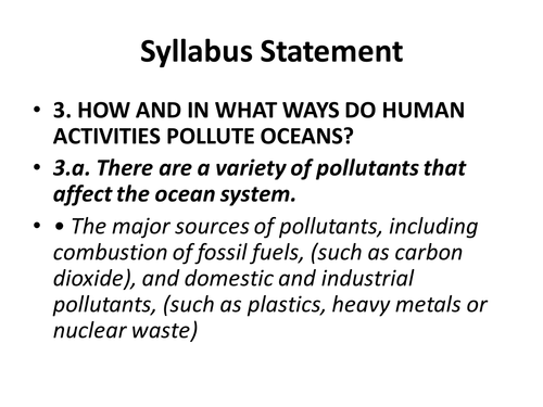 OCR B Types of Pollution - Exploring Oceans