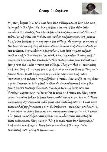 The story of Olaudah Equiano activity