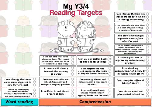 Child Friendly Pupil Year3/4 Reading Target Sheet