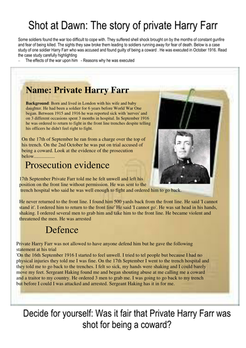 Shot at Dawn the case study of Private Harry Farr