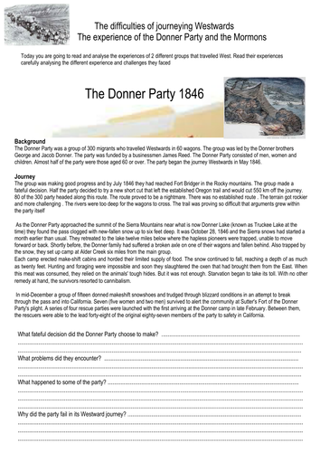 Case studies of the early settlers West- The  Donner Party and the Mormons
