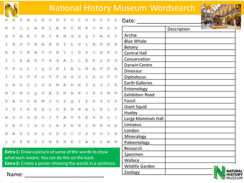 National History Museum Wordsearch Literacy Starter Activity Homework Cover Lesson Plenary