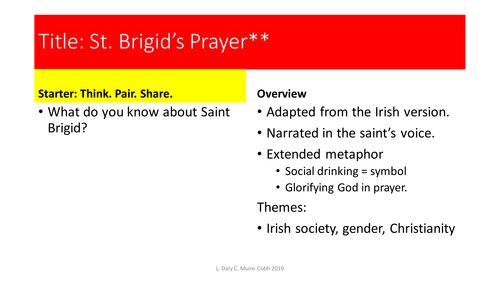 Brigid prayer saint Saint Brigid