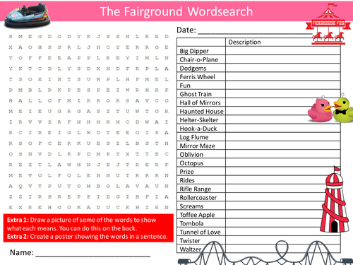 The Fairground Wordsearch Funfair Fair Literacy Starter Activity Homework Cover Lesson Plenary