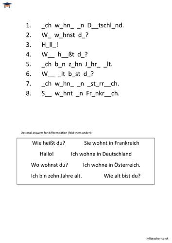 german simple greetings missing vowels worksheet by themflteacher teaching resources tes. Black Bedroom Furniture Sets. Home Design Ideas