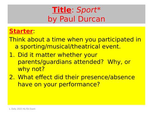 Sport - Paul Durcan