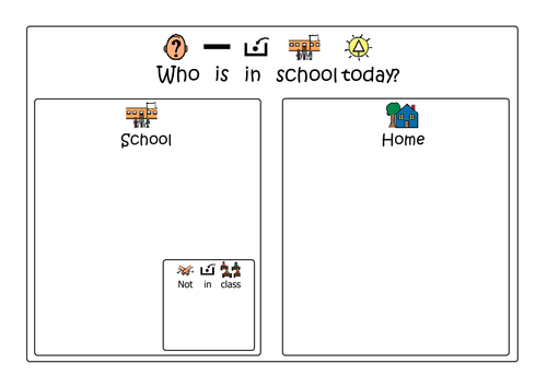 Who is in school today? - Visual poster for children with Autism