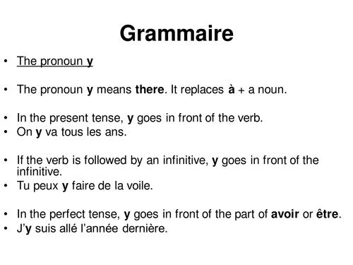 The pronoun y / Y