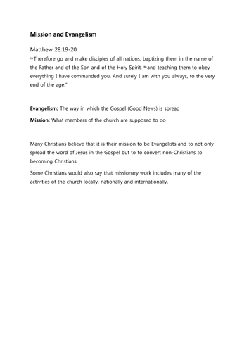 OCR GCSE (9-1) Religious Studies Practices: Mission and Evangelism