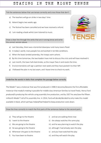 Staying in the right tense worksheet