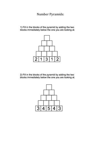 KS1/KS2 Maths - Addition - Number Pyramids - 10 Questions