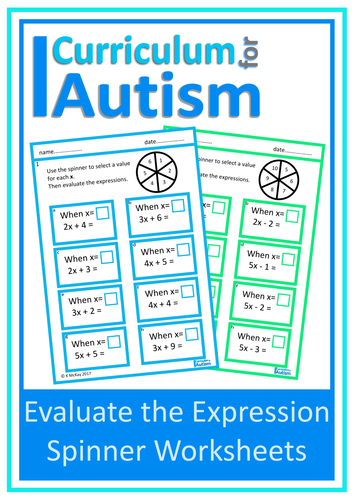 Evaluate the Expressions Worksheets, Autism, Special Education by ...