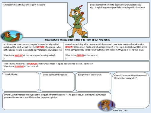 Source Interpretation analysis sheet (EDITABLE) Disney's Robin Hood King John