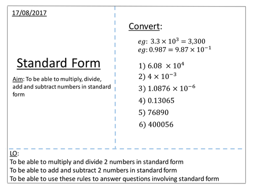 Standard Form Calculations By Jfperry Teaching Resources Tes