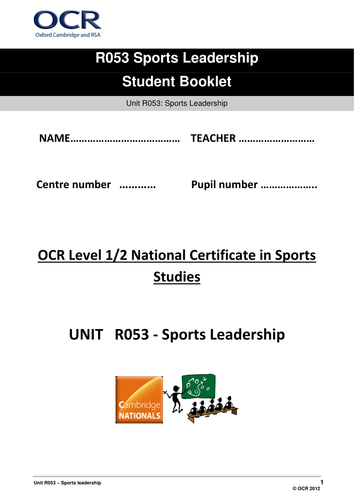 OCR National Certificate in Sports Studies R053 Student booklet