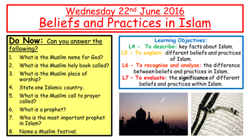 KS3 Islam Lesson - Beliefs and Practices