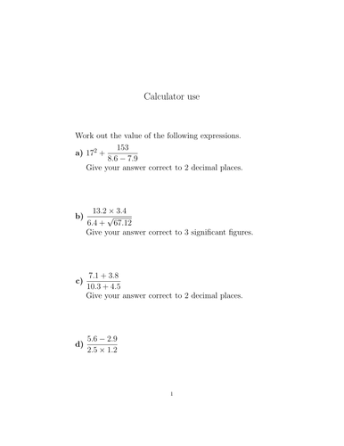 Calculator use worksheet (with answers)