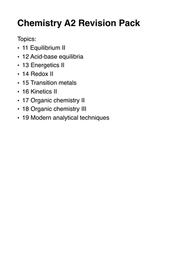 A-Level CHEMISTRY Revision Pack
