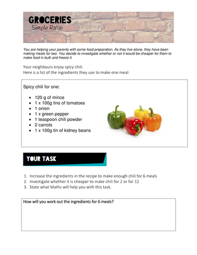 Maths simple ratio worksheets for Groceries
