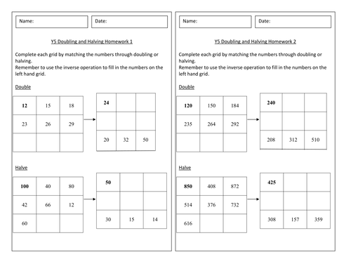 Year 5 - Doubling and Halving Homework - Worksheet - Numeracy - Block A Unit 1