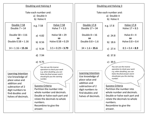 Year 5 - Doubling and Halving - Worksheet - Numeracy - Block A Unit 1
