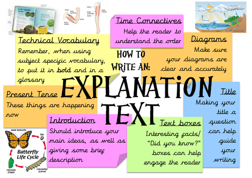 Features of explanation texts poster