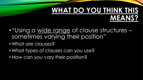 varying clause structures