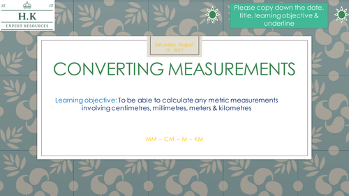 Converting Measurements - Year 5/6 - Includes answers  - 4  Lessons!