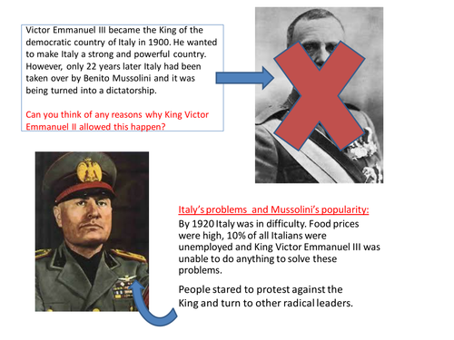Lesson 8 -Rise of the Dictators - How Mussolini became dictator of Italy