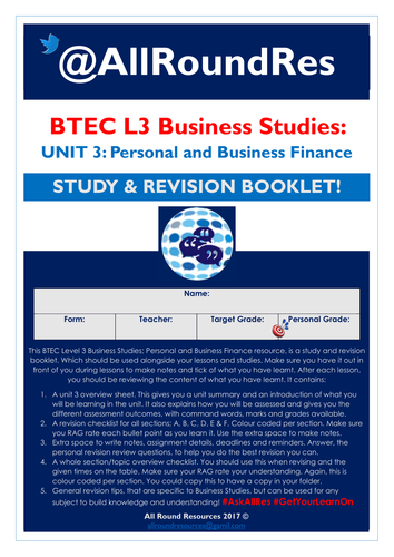 BTEC L3 Business Studies: Unit 3 - Personal & Business Finance Independent Study Booklet! EDITABLE!