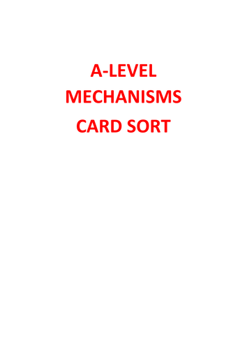 A-level Chemistry Organic Mechanisms Card Sort - Learning Puzzle - with answers