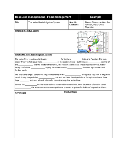 The Indus Basin Irrigation system lesson with example study sheet - AQA Geography GCSE