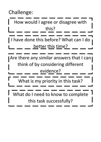 Display resource: Metacognitive Questioning Board