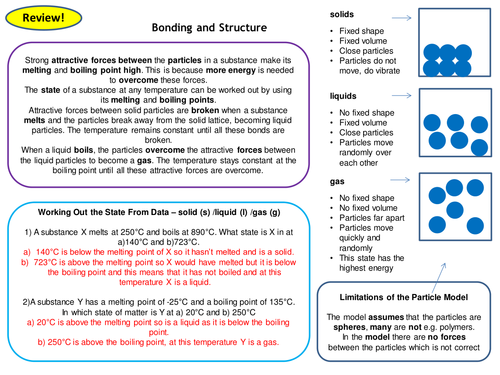 Bonding & Structure Topic 2 Chemistry Full Set of Revision Card Activities New AQA Chemistry GCSE