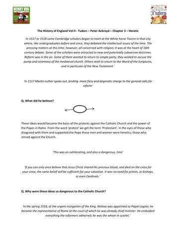Tudors - Peter Ackroyd - Chp 3 - Heretic - Supporting Worksheet