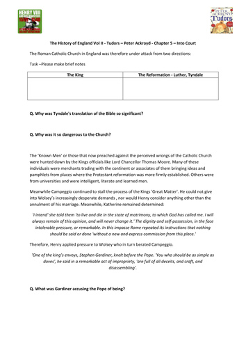 Tudors - Peter Ackroyd - Chp 5 - Into Court - Supporting Worksheet