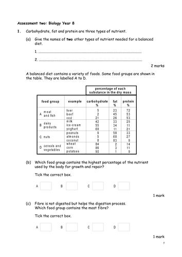 Biological food tests KS3 KS4 Practical lesson