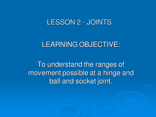 Year 11 GCSE PE Joints lesson