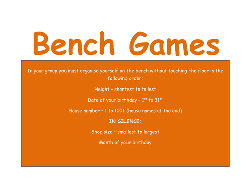 Team Building Bench games