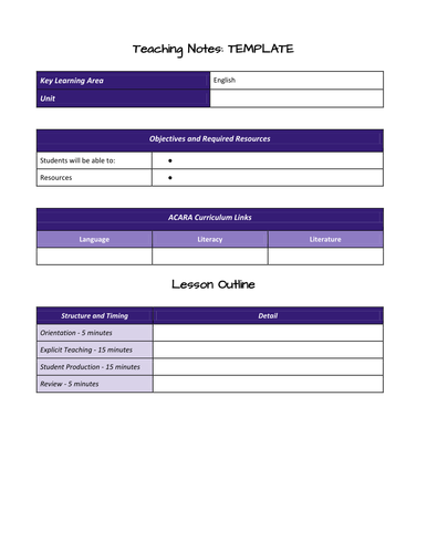 Lesson and Unit Planning Templates