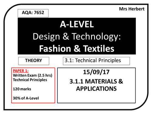 Year 12 Materials & Applications